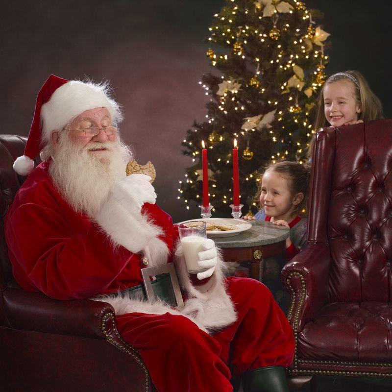 Peeking On Santa Eating Cookies Santa Claus Photography Santa Claus Santa