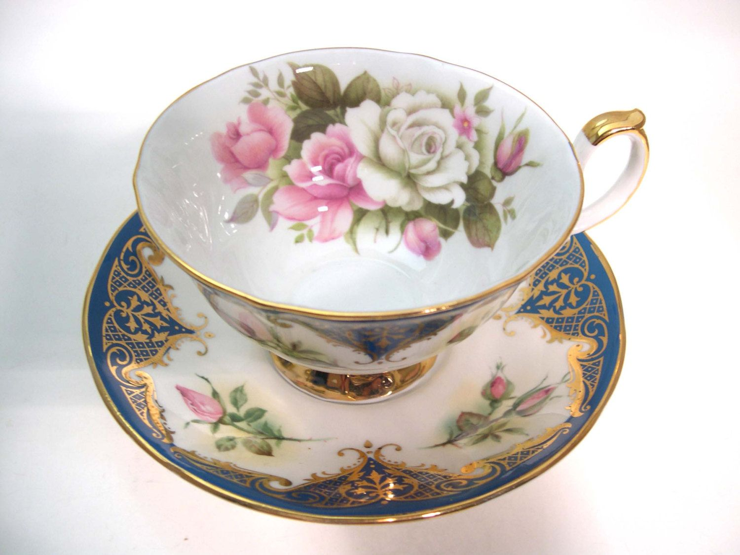 Royal albert bone china tea cup amp saucer winsome pattern ebay - Rare Elizabethan Staffordshire Tea Cup And Saucer Dark Blue Tea Cup Set With