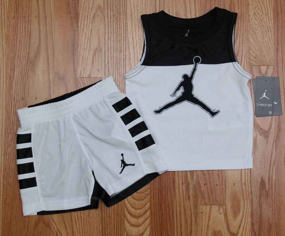 88efc2e0cfc Air Jordan Baby Boy 2 Piece Tank & Shorts Set ~ Black, White & Gray ~  Jumpman ~ #Jordan #Jumpman #Black&White