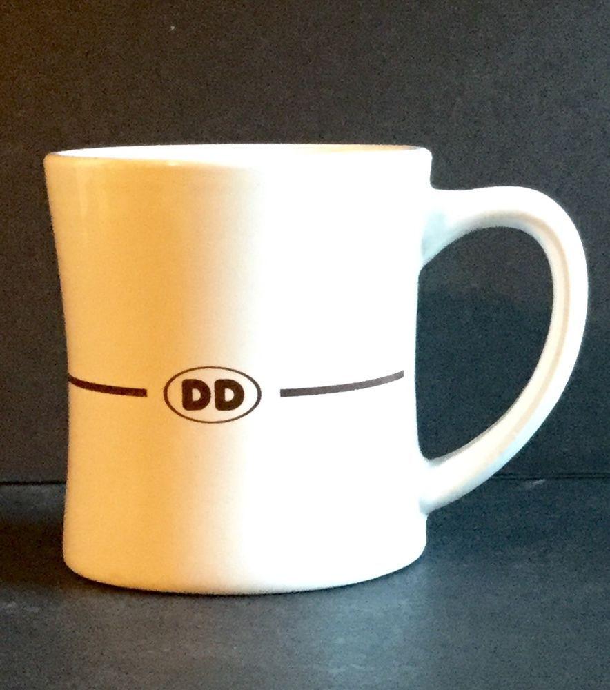 2011 DUNKIN DONUTS Diner Style Brown DD Logo Coffee Mug White 12 oz