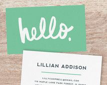 Printable Business Card Template   INSTANT DOWNLOAD   Hello   Edit in Word or Pages   Works with Vistaprint   Editable Artwork Colors