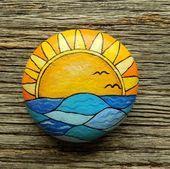Gemalter Felsen des Ozean-Sonnenuntergangs dekorativer Akzent-Stein Briefbeschwe ...  - Steine bemalen -   #AkzentStein #bemalen #Briefbeschwe #dekorativer #des #felsen #Gemalter #OzeanSonnenuntergangs #Steine