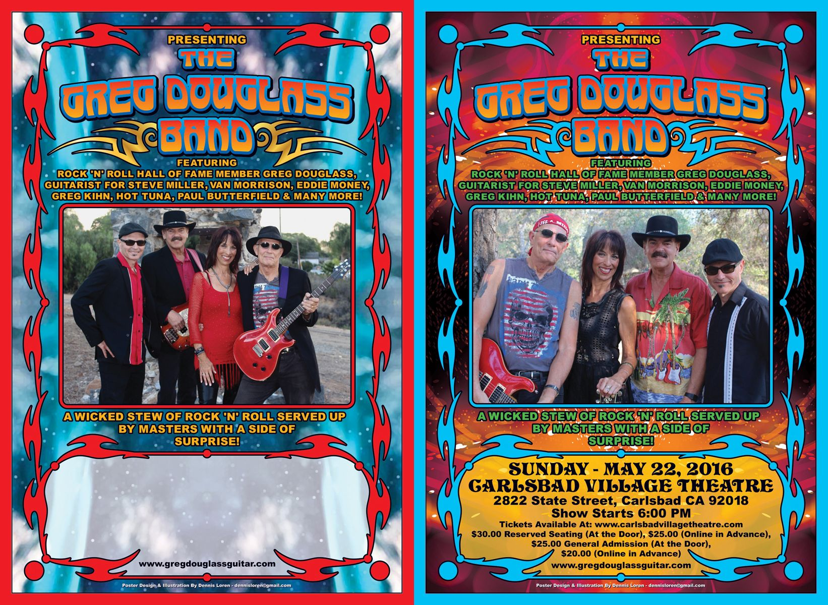 A tour blank poster (on the left) and an upcoming concert poster (on the right), that I designed for the Greg Douglass Band. Greg has played guitar with a wide array of groups and solo performers from The Steve Miller Band and Hot Tuna to Van Morrison and Eddie Money.