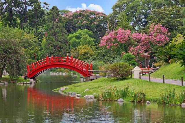 day 272 red bridge in a japanese garden por jimp in sarnia