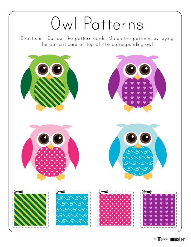 owl patterns toddler and preschool free printable owl week free printable