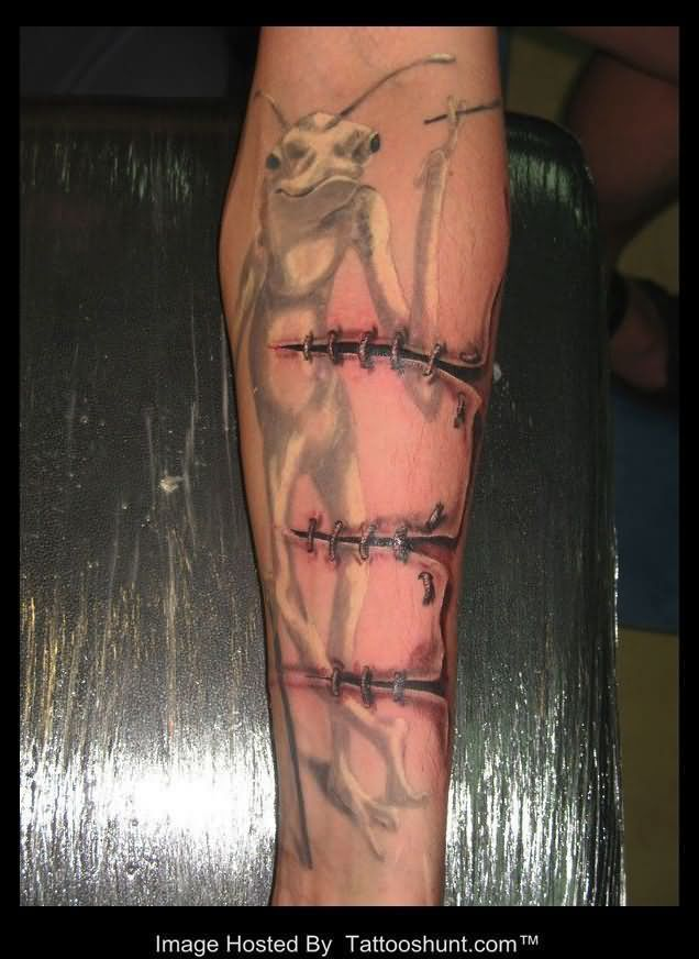 Realistic Ripped Skin Tattoos | Ripped Skin Arm Tattoos Ripped skin stitched cut 3d Realistic