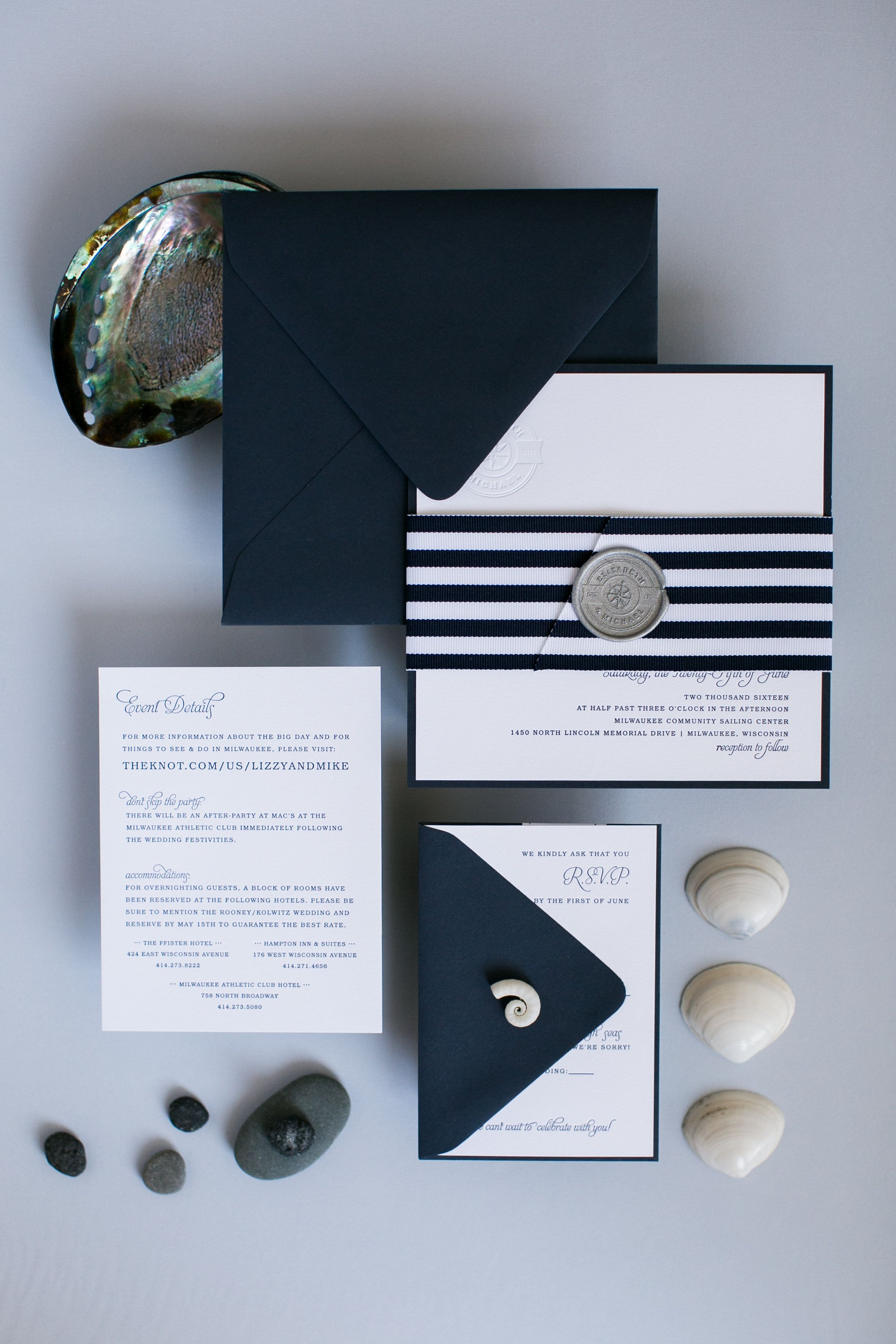 Nautical letterpress wedding invitation lake wedding invitation