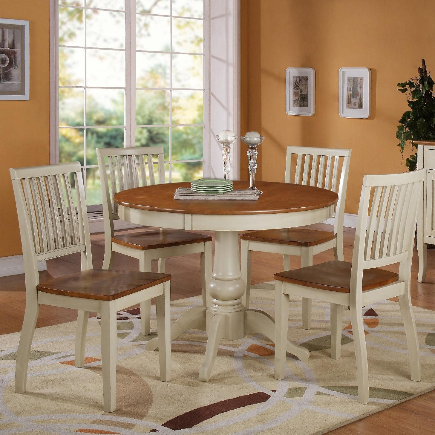 5pc Round Pedestal Drop Leaf Kitchen Table 4 Chairs: Candice 5 Pc. Pedestal Table With Chair Dining Set By