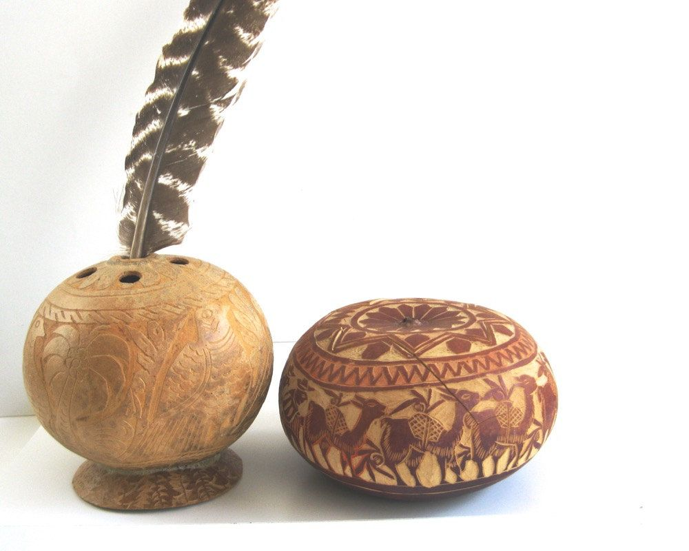Lot mid century hand carved gourds u lidded box and weed pot