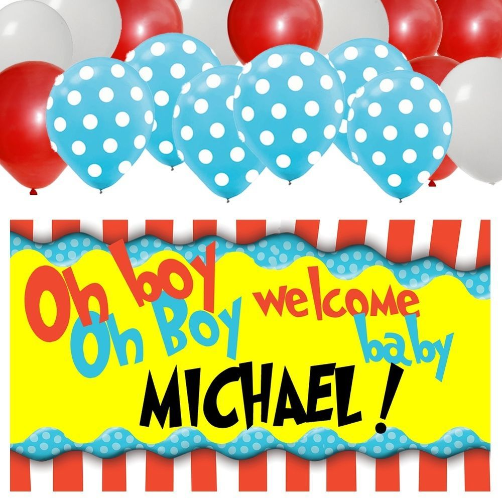 Dr Seuss Personalized Baby Shower Banner U0026 30 Balloon Kit #BabyShower