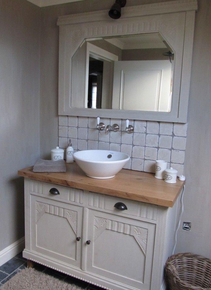 Badkamer meubel u kast badkamer steigerhout brigee badkamermeubel evita staand cm mdf - Wit badkamer design meubels ...