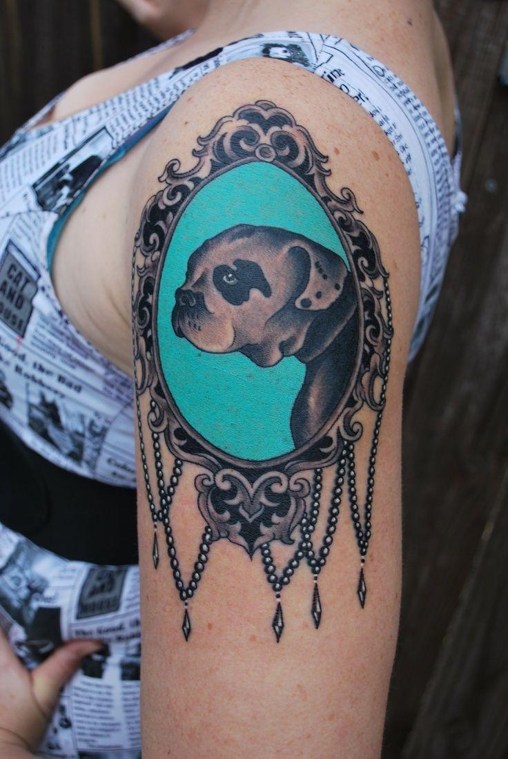 oval filigree frame tattoo. American Bulldog Victorian Frame Tattoo Artist Nick Rodin Oval Filigree G