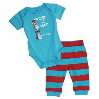 Adorable short sleeve lap shoulder bodysuit and pants set featuring your favorite Dr. Seuss characters! Made from a soft lightweight cotton for ultimate comfort against babies skin. $14.95 #bumkins #baby #infant #clothing #drseuss