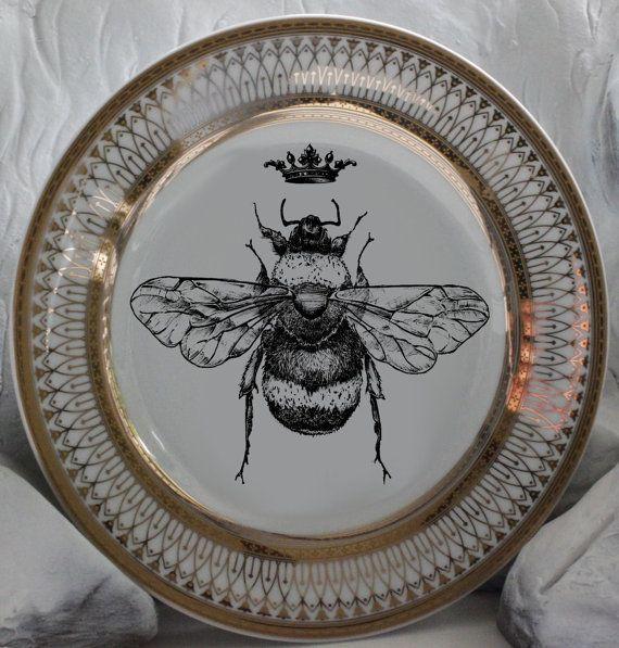 Beautiful Gold Queen / Royal Crown Bee Dinnerware / Plates Bumblebee Dishes Honeybee & Beautiful Gold Queen / Royal Crown Bee Dinnerware / Plates ...