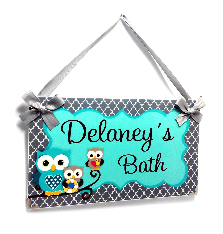 Owl Bedroom Decor Kids Personalized Owls Bath Decor Kids Door Signs Girls Nursery
