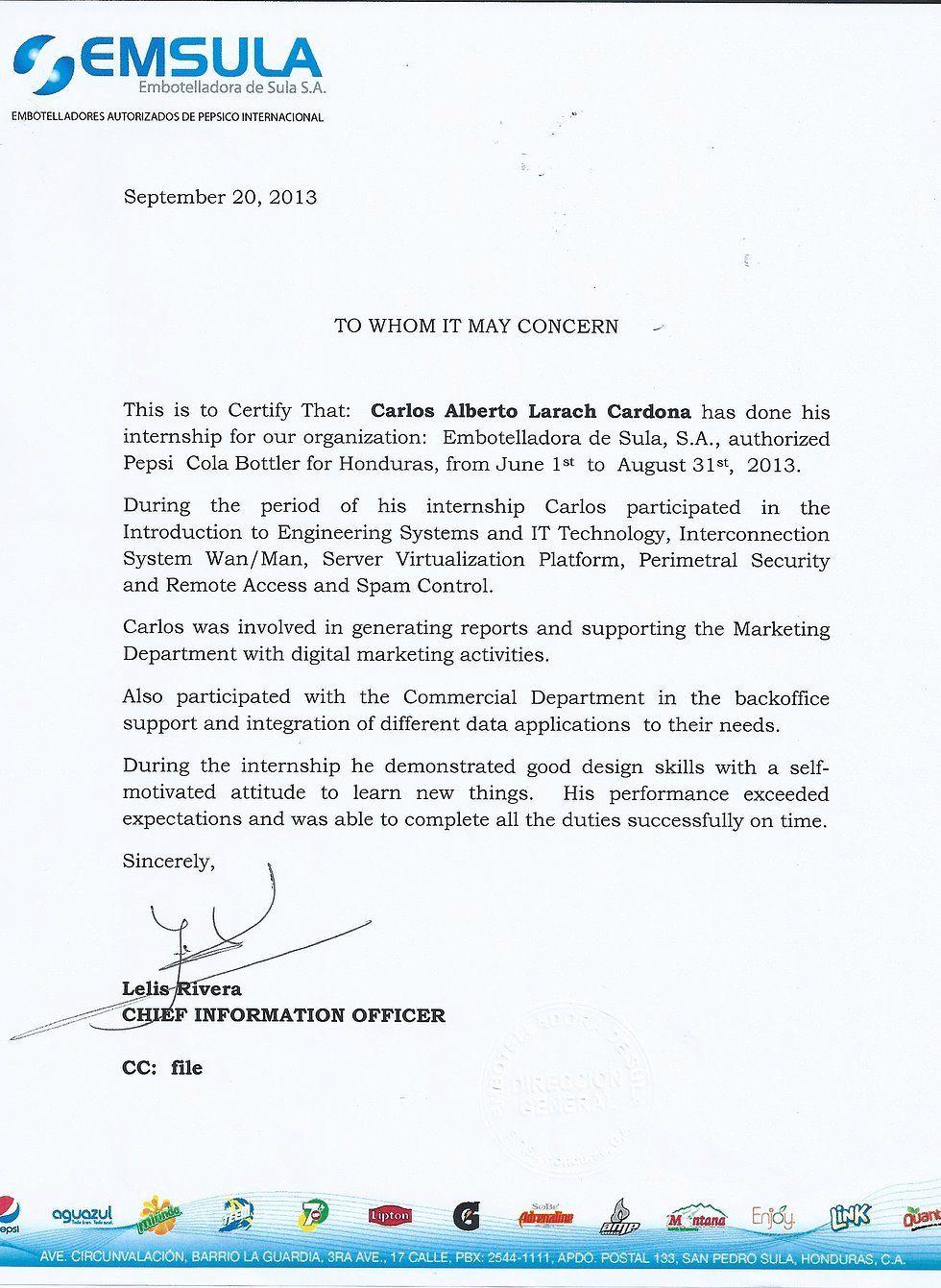 Letter Of for Internship Elegant Job