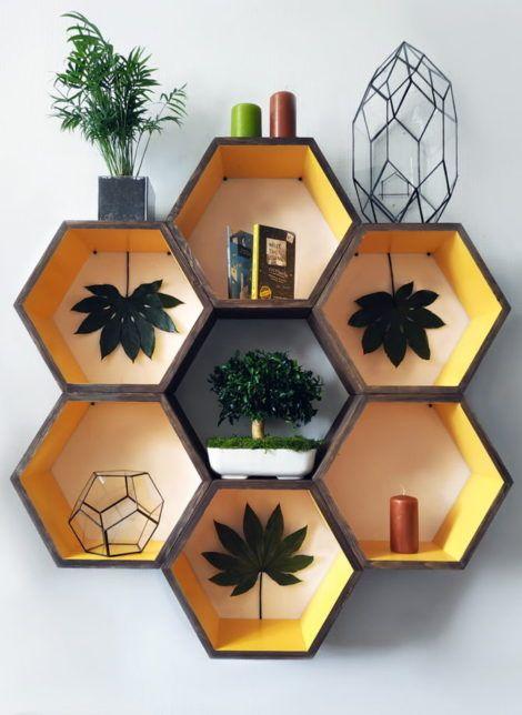 25 Honeycomb shelves decor ideas. -   22 diy Shelves popsicle sticks ideas