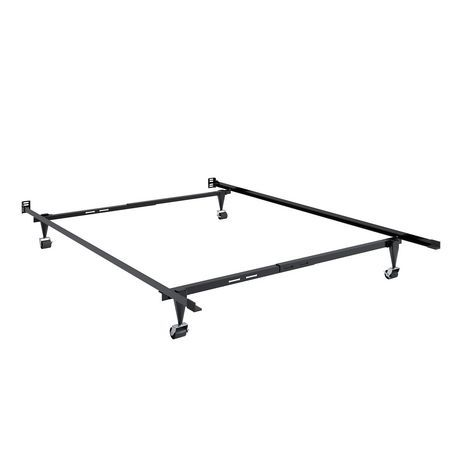 Corliving Adjustable Metal Bed Frame Black Twin Full Metal Bed