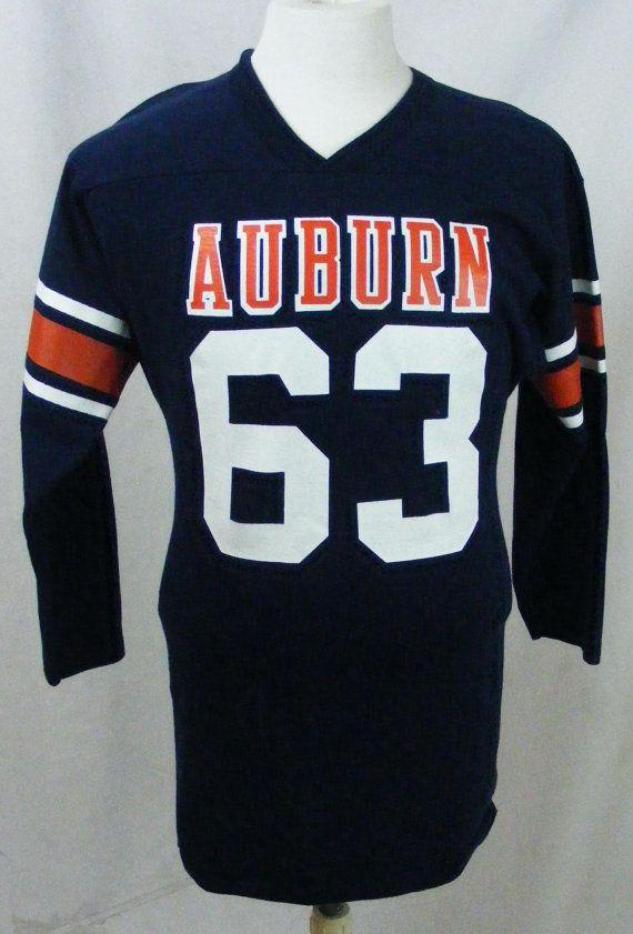 Vintage 70s Auburn University Football Jersey Navy Blue And