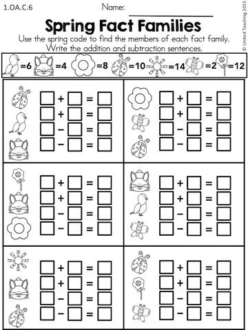 Spring Math Worksheets 1st Grade Distance Learning Spring Math Worksheets Fact Family Worksheet Math Worksheets
