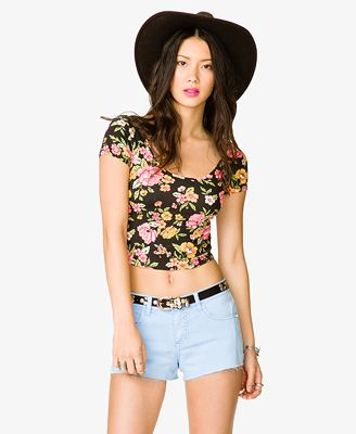 Black Floral (White/Yellow/Green/Orange) Short-Sleeved Crop Top ...
