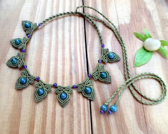 moss agate macrame necklace macrame jewelry moss agate jewelry macrame choker micro macrame. Black Bedroom Furniture Sets. Home Design Ideas