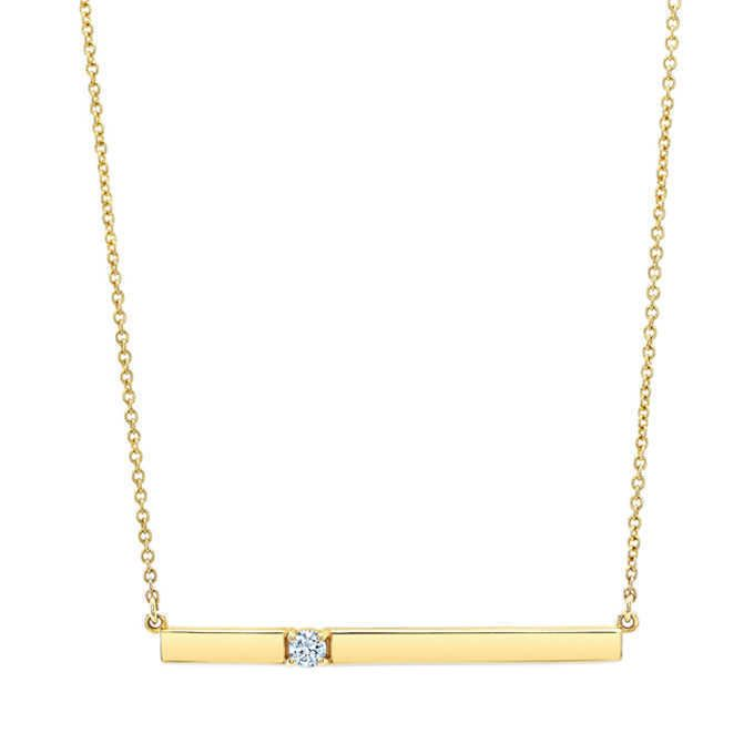14kt Yellow Gold Bar Necklace Round Brilliant 0.10 ctw VS2 Clarity Color Diam