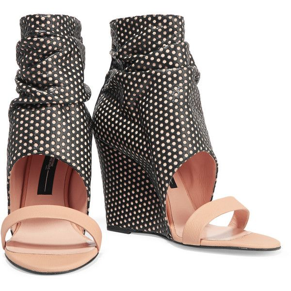 Jérôme Dreyfuss - Ella Cale Perforated Leather Wedge Sandals (185 CAD) ❤  liked on