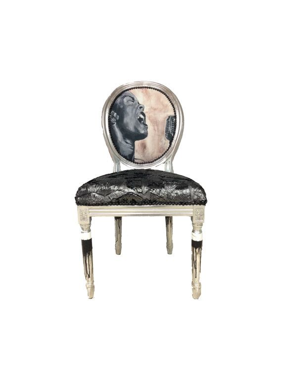 Pop Art Accent Chair French Louis XVI Banksy Billie Holiday Silver Side  Chair By Heather Rudd Throne Upholstery