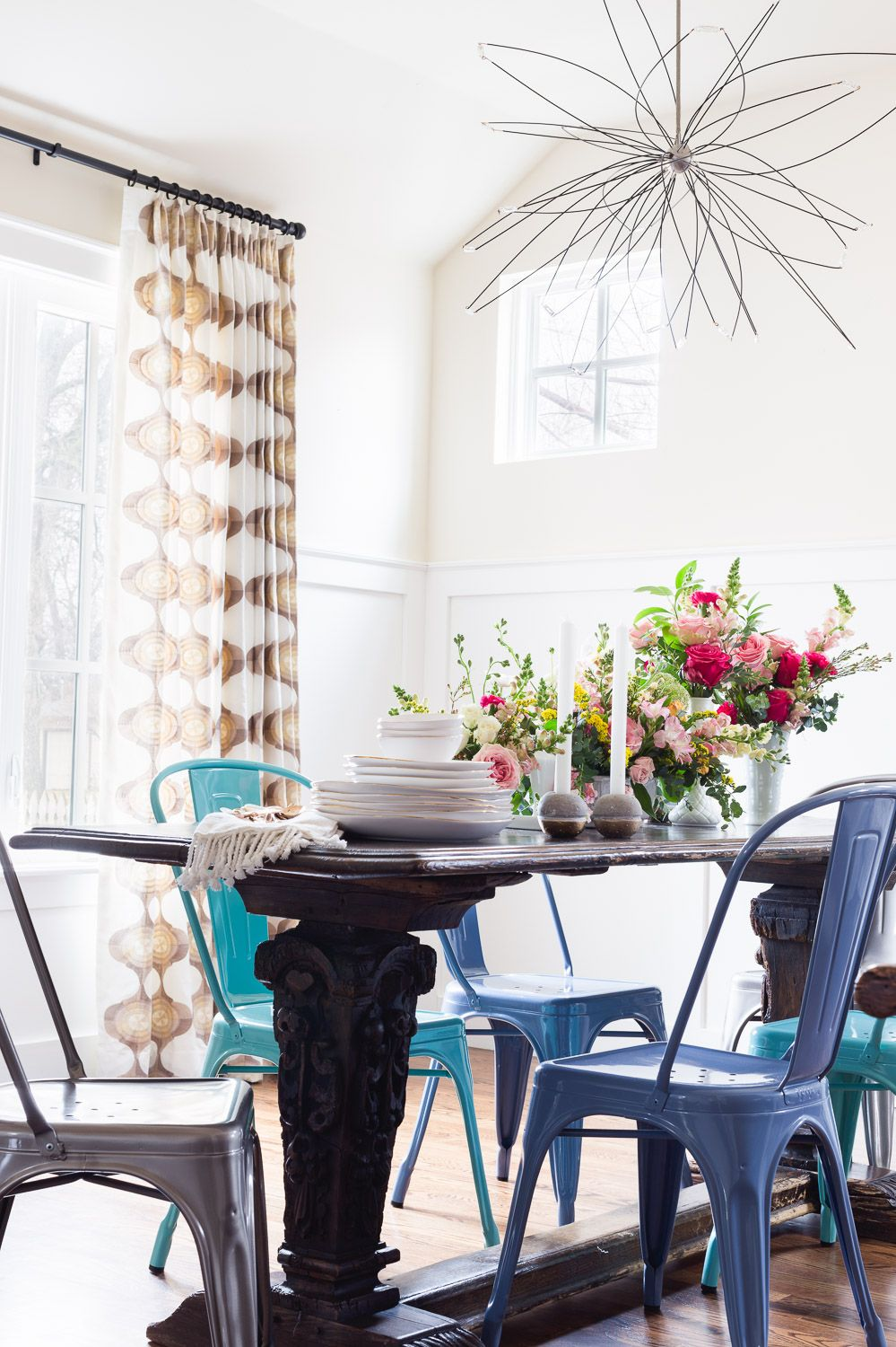 Eclectic dining room Blue Chairs Bright Colors Interior Design
