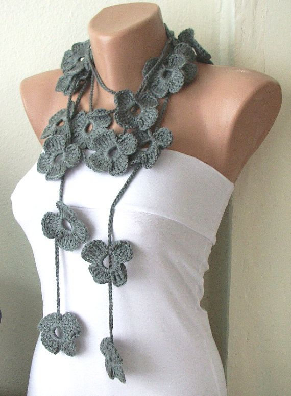 Handmade Crochet - Winter Scarf - Grey Necklace - Flower Lariat ...