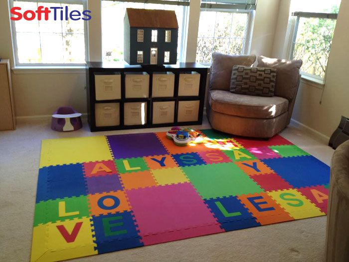 Kids play mat arranged crossword style using spell your for Mats for kids room