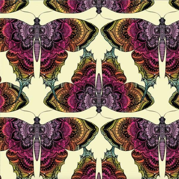 Sorgmantel, vlinders. Stofbreedte 160cm, breedtevlinders. Biologische tricot van Znokdesign uit Zweden