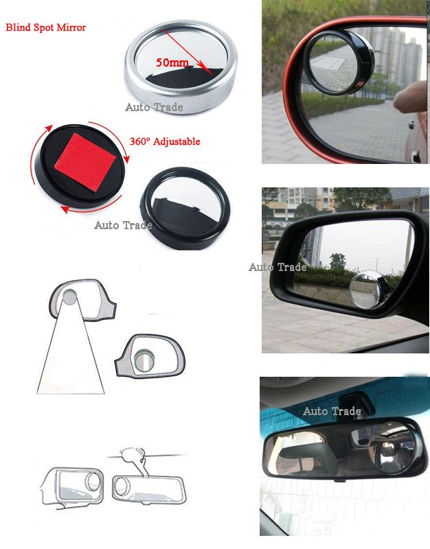 2 Side Adjustable Car Interior Blind Spot Mirror Wide Angle Round Convex Auto Rear View Wholesale Blind Spot Mirrors Car Interior Blinds