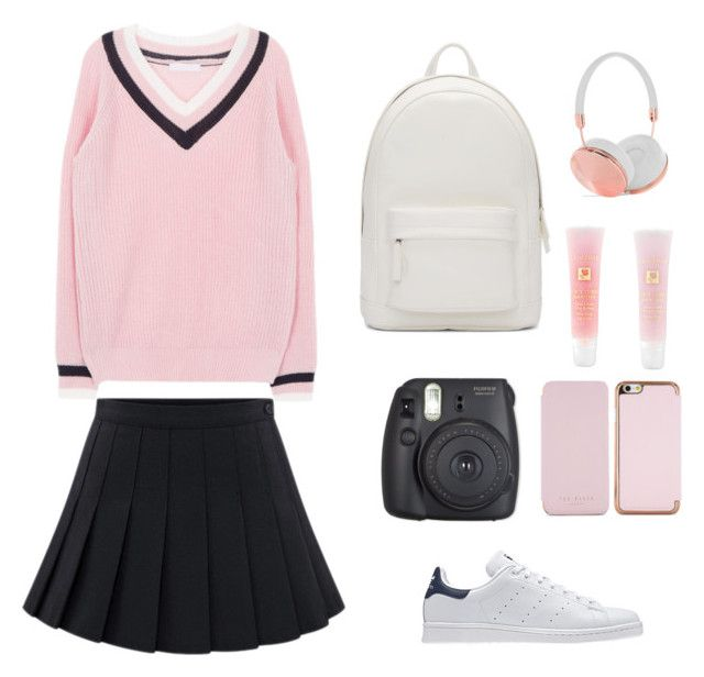 """""""school outfit"""" by vit1017 on Polyvore featuring adidas Originals, PB 0110, Ted Baker, Frends and Lancôme"""