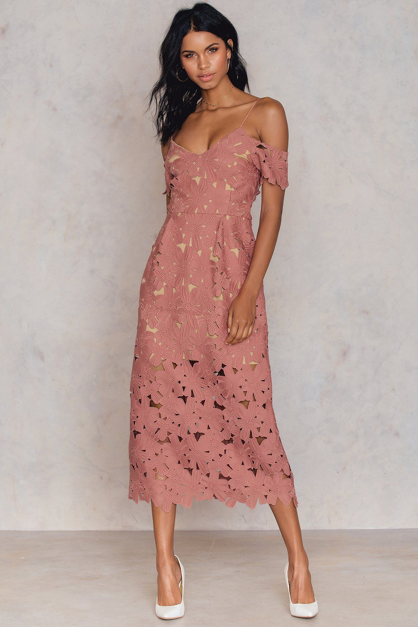 The Cold Shoulder Crochet Midi Dress By Na Kd Boho Features Finely Crafted Floral Embroidery With A Thin Strap And Floral Crochet Cold Shoulder Design Beige Li