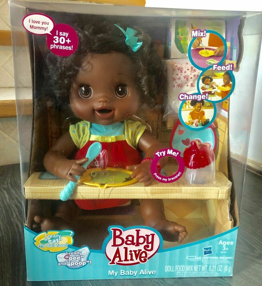 Babyalive My Baby Alive Doll 2010 African Brunette Doll New In Box Hasbro Ebay Baby Alive Dolls Baby Alive Baby Alive Doll Clothes