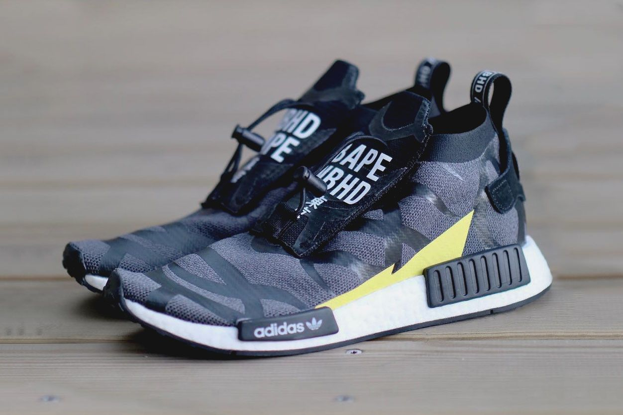 new styles 89d33 93794 BAPE NEIGHBORHOOD adidas NMD TS1 First Look Black Grey Volt. A BAPE x  NEIGHBORHOOD ...