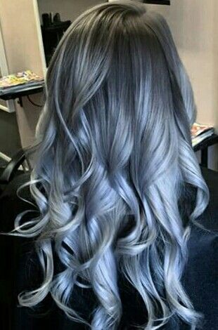 Silver Blue Grey Ombre Hair