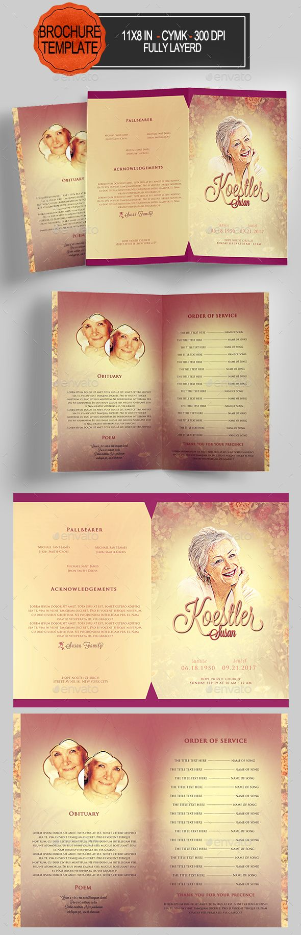 Funeral Program Template  Program Template Models And Fonts