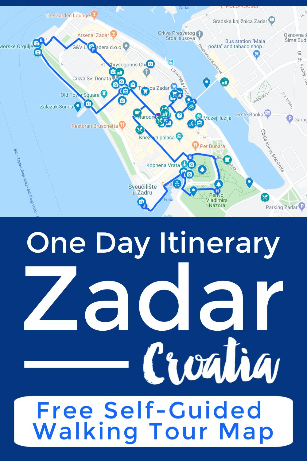 What To Do In Zadar Croatia On A Budget Walking Tour Map Intentional Travelers Croatia Transformational Travel Walking Tour