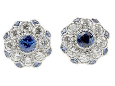 sapphire and diamond earrings via calder clark designs blog