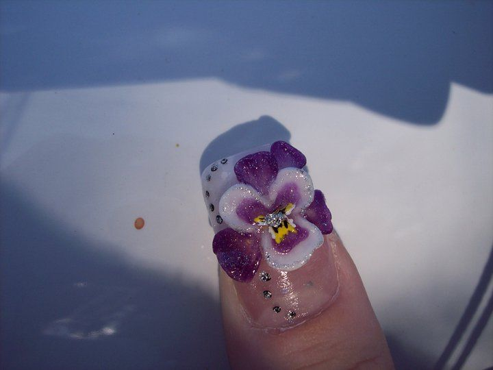 3d Acrylic Pansy Flower Fingernails Painted Paw Print Tattoo Nail Paint