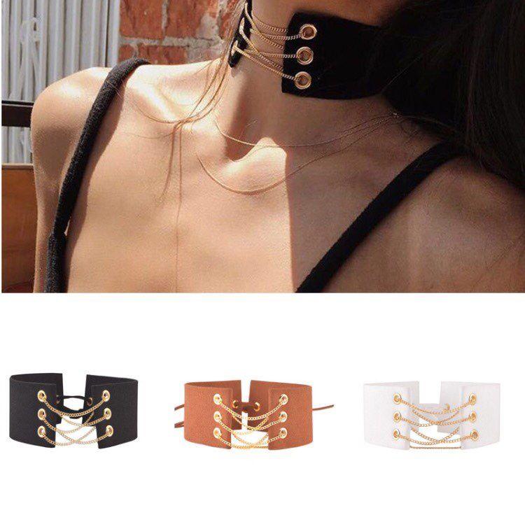 Modeschmuck DIY Leder spitzenkragen halskette mix farbe geschenk für frauen mädchen N1930