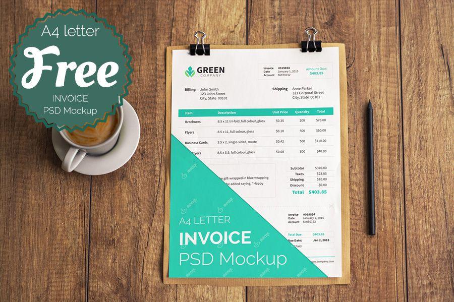 free-invoice-psd-mockup-template Designers tools Pinterest - free invoice design