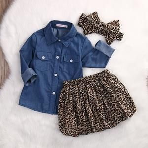 4f628cebefe92 3PCS Set Cute Baby Girls Clothes 2017 Summer Toddler Kids Denim Tops ...