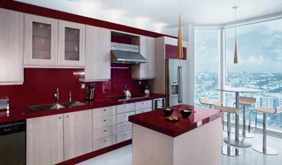 Kitchen Design Red And White. Red and White Kitchen Design Bright Miami Apartment  With a