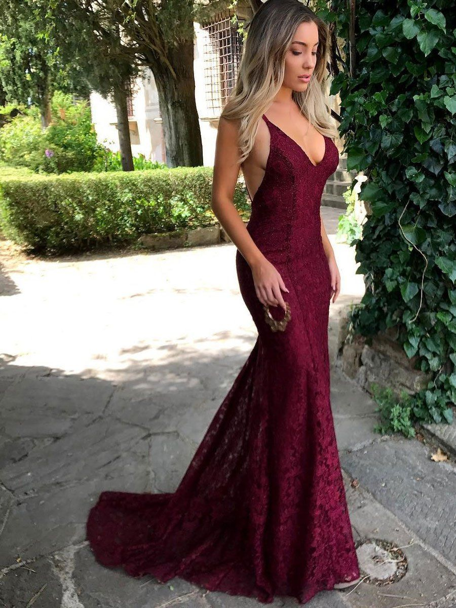 Burgundy Lace Vneck Sexy Low Back Mermaid Prom Dresses with Sweep