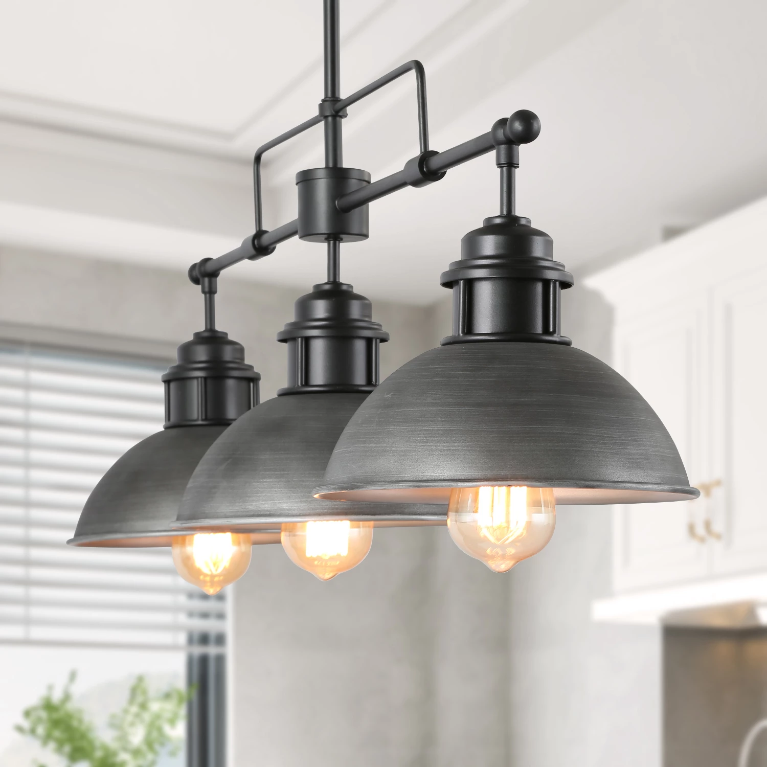Lnc Island Lights Antique Silver Brushed Metal Finish Chandeliers 3 Li In 2020 Industrial Pendant Lighting Kitchen Industrial Kitchen Lighting Kitchen Pendant Lighting