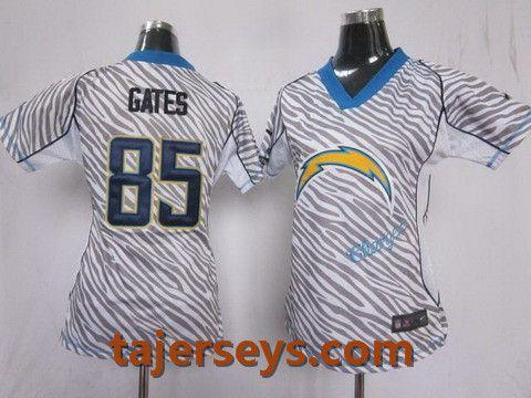Women Nike San Diego Chargers 85  Antonio Gates FEM FAN Zebra Nike NFL  Jerseys Price d58714693